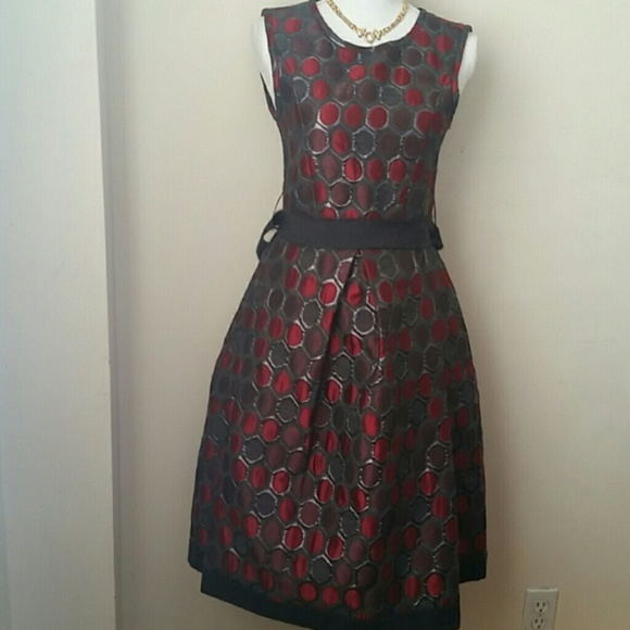 new product f36c3 a15b9 P.A.R.O.S.H. red & silver circles dress sz S